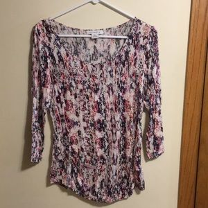 Liz Claiborne 3/4 sleeve abstract print top